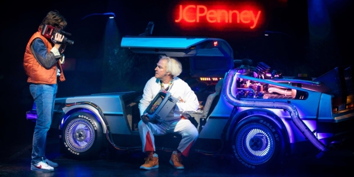 Olly Dobson & Roger Bart in Back to the Future: The Musical