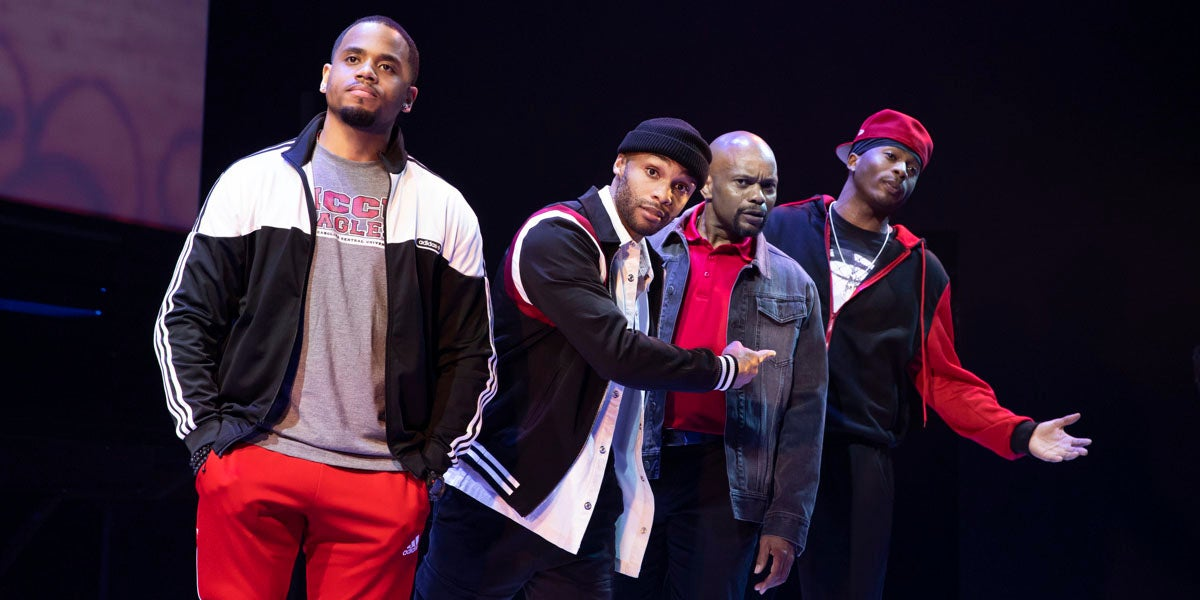 Photo credit:Tristan Mack Wilds, Dyllón Burnside, Forrest McClendon and Da'Vinchi inThoughts of a Colored Man (Photo by Julieta Cervantes)