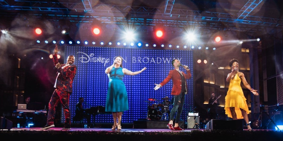 Photo credit: Michael James Scott, Ashley Brown, Josh Strickland, and Kissy Simmons The Music of Disney on Broadway at Dr. Phillips Center for the Performing Arts Frontyard Festival (Photo courtesy of Disney on Broadway)
