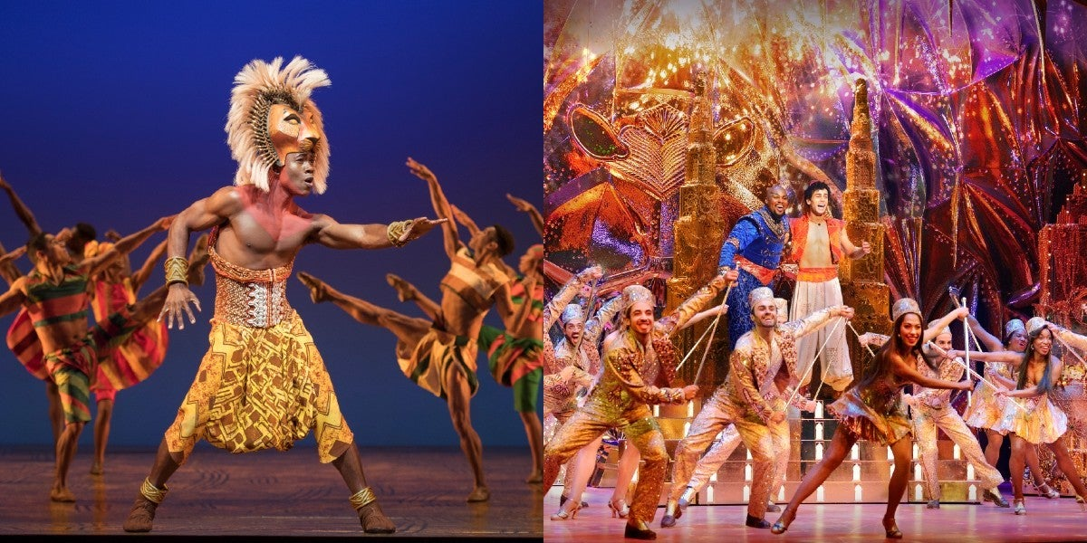 Bradley Gibson in 'The Lion King' (Left) and Michael James Scott and Ainsley Melham in 'Aladdin' (Right) (Photos by Dean van Meer)