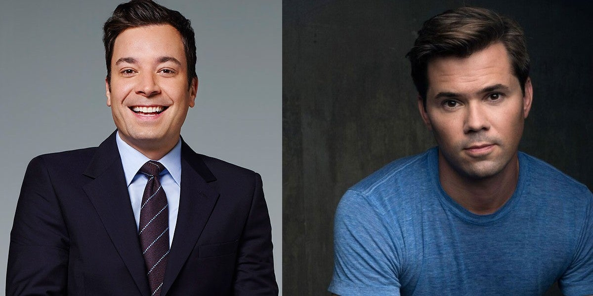 Photo credit: Jimmy Fallon and Andrew Rannells (Photos courtesy of Jimmy Fallon and IBDB respectively)