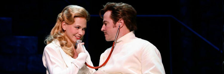 Sutton Foster & Roger Bart in Young Frankenstein on Broadway