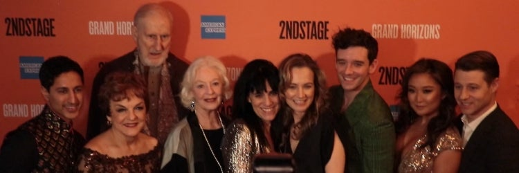 The cast of Grand Horizons with director Leigh Silverman and playwright Bess Wohl