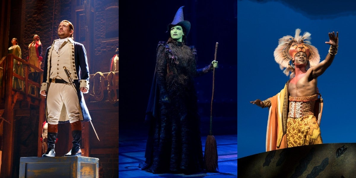 From right to left: Miguel Cervantes in 'Hamilton' (Photo by Joan Marcus); Lindsay Pearce in 'Wicked' (Photo by Joan Marcus); Bradley Gibson in 'The Lion King' (Photo by Dean van Meer)