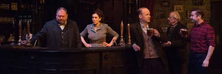 The Cast of Hangmen at Atlantic Theater Company