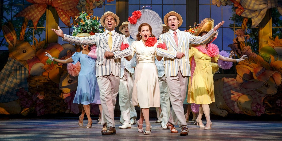 Photo credit: Corbin Bleu, Lora Lee Gayer, Bryce Pinkham in Irving Berlin's Holiday Inn – The Broadway Musical (Photo by Joan Marcus, courtesy of Grand Communications)