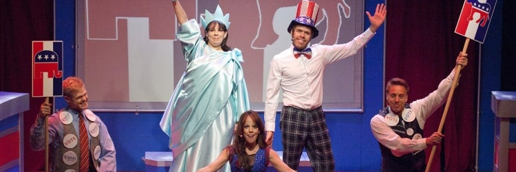 Tommy Walker, Christine Pedi, Leslie Kritzer, Perez Hilton & Michael West in NEWSical The Musical