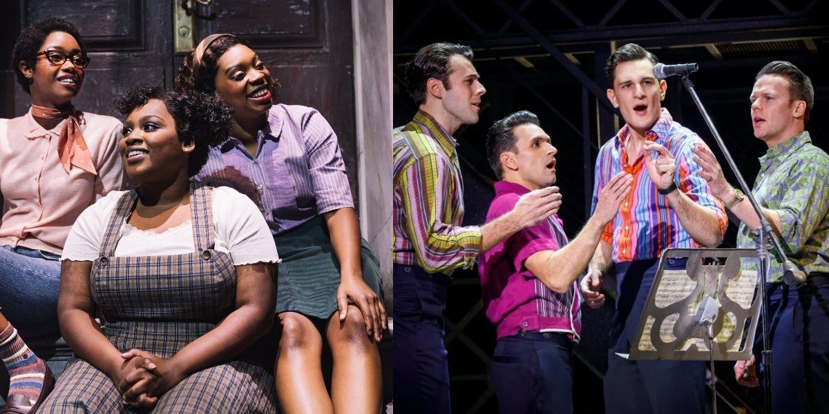 Photo credit: Cast of Little Shop of Horrors and Jersey Boys (Photos by Emilio Madrid-Kuser and Joan Marcus)