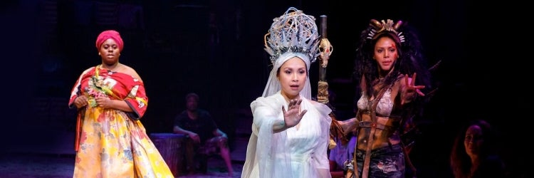 Lea Salonga with Alex Newell and Merle Dandridge in Once on This Island