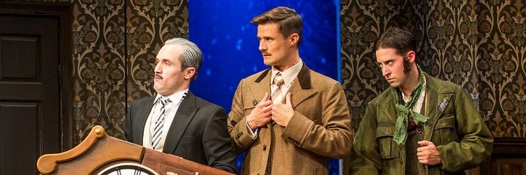 Harrison Unger, Mark Evans, and Alex Mandell in The Play That Goes Wrong