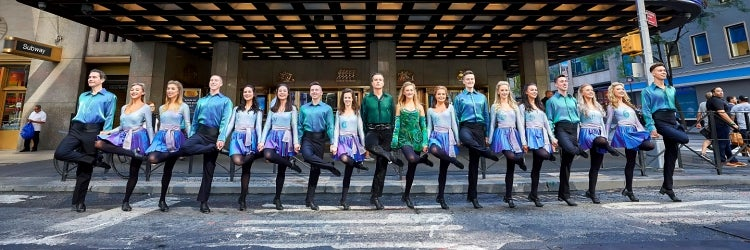 The 25th Anniversary Cast of Riverdance outside Radio City Music Hall