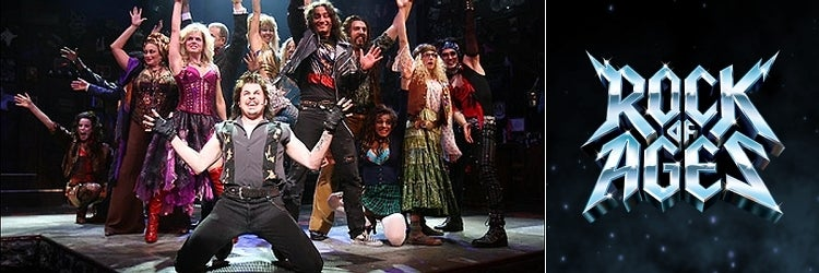 Mitchell Jarvis and the Broadway company of Rock of Ages