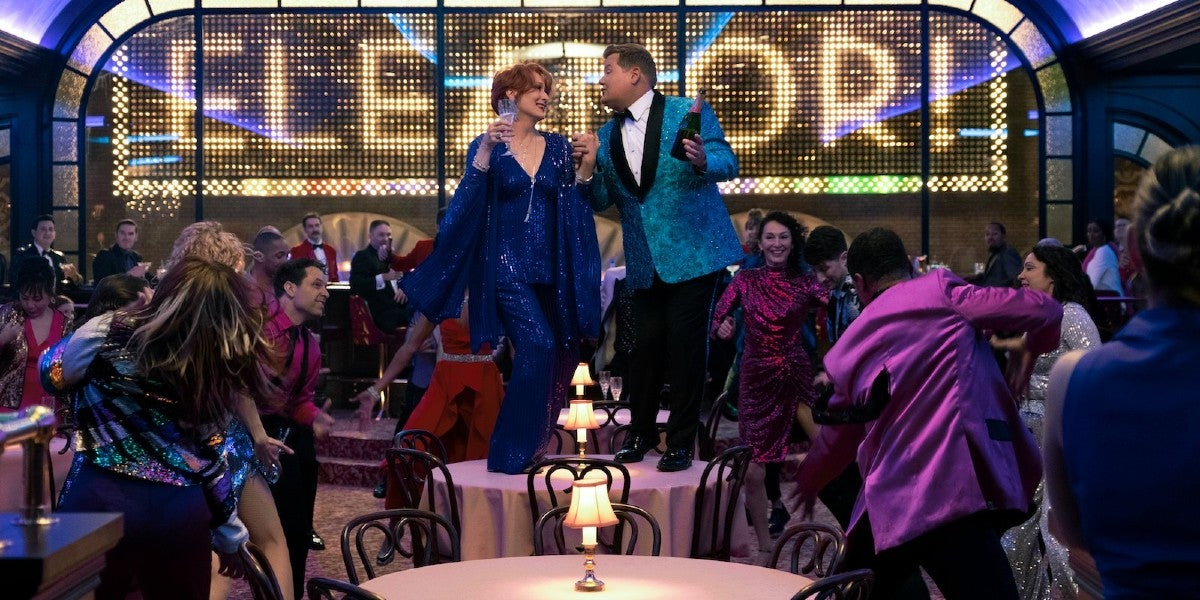 Photo credit: James Corden and Meryl Streep in The Prom (Photo courtesy of Netflix)