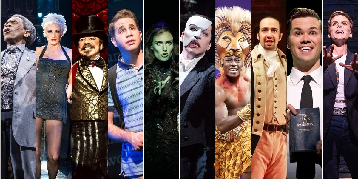 Hadestown, Chicago, Moulin Rouge! The Musical, Dear Evan Hansen, Wicked, The Phantom of the Opera, The Lion King, Hamilton, The Book of Mormon & Come From Away