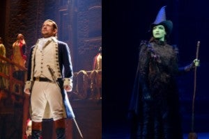 From right to left: Miguel Cervantes in 'Hamilton' (Photo by Joan Marcus); Lindsay Pearce in 'Wicked' (Photo by Joan Marcus)