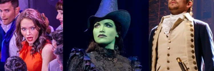 Photo: Cast of Company, Lindsay Pearce in Wicked and Miguel Cervantes in Hamilton (Photos byBrinkhoff/Mogenburg andJoan Marcus)