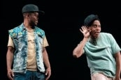 Jon Michael Hill and Namir Smallwood in Pass Over. (Photo by Joan Marcus)